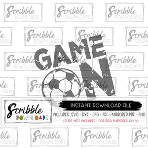 Soccer SVG Game day coach digital download printable iron on transfer shirt DIY craft game on grunge antique look soccer futbol cute popular boy girl team sports fanatic fun east free commercial use