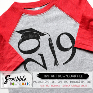 2019 Grad SVG Vinyl Cut File Cricut Silhouette Graduation cap and gown senior year school college boy girl teen kids 19 class of 2019 cute popular fast easy matching shirts logo high school svg DXF PDF PNG JPG