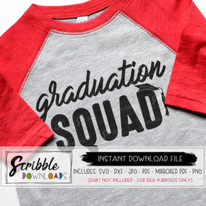 Graduation Squad SVG Vinyl Cut File Cricut Silhouette digital download instant printable iron on transfer shirt DIY craft matching grad cap and gown trendy cute hand drawn mom dad sibling high school senior friends party celebrate 2019 2020 2021 college SVG DXF PDF PNG JPG