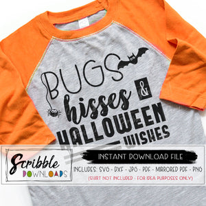 halloween bugs hisses halloween wishes svg dxf pdf cricut silhouette cut vector file popular iron on shirt kids mom holiday