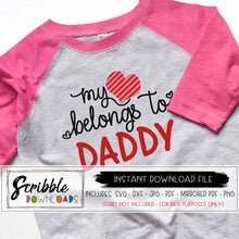 My heart belongs to Daddy SVG DXF PDF PNG JPG cricut design space silhouette cameo cut file layered heart easy cut craft clipart daddy's girl valentine Valentine's V-day kids clothing DIY printable Digital download instant last minute iron on transfer print at home DIY shirt cute popular fun easy craft