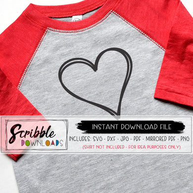 heart sketch free digital download SVG file for Cricut and Silhouette vinyl cutting machine valentines FREE SVG DXF PDF PNG JPG iron on transfer graphic DIY digital download trendy cute safe secure instant download printable file HTV last minute valentine shirt DIY