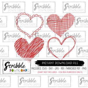 hand drawn hearts bundle SVG DXF PDF PNG JPG Vector Cricut Silhouette scribble sketch sketched heart whimsical crafty valentine Valentine's Day Vday craft vinyl instant digital download free commercial use limited iron on transfer graphic DIY print email safe easy popular cute trendy