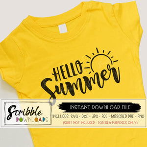 hello summer svg Cricut Silhouette vinyl cut file Printable iron on transfer shirt summertime schools out sun sunshine cute hand drawn girl girls teen mama mom summer lovin' free commercial use summertime cute popular easy fast digital download