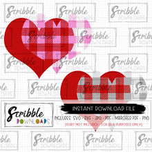 buffalo plaid hearts cut file SVG DXF PDF PNG JPG cricut silhouette layered SVG vector red pink gray boy girl twins cute easy valentine digital download safe secure Vday Gift last minute for friend pal coworker new baby
