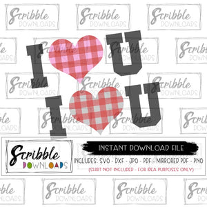 I ♥ U clipart SVG DXF PDF PNG JPG cut file cameo silhouette cricut design space file easy free commercial use cute popular trendy valentine gift for baby kids iron on transfer shirt digital download file Email.