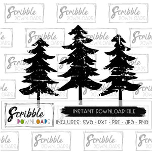trees distressed christmas SVG DXF PDF PNG JPG clipart graphic cricut silhouette cut file trees pine trees cool cute popular antique old fashioned