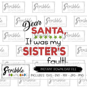 sisters fault santa SVG DXF clipart printable for DIY iron on shirt transfer print at home cricut silhouette cuts a lot vinyl HTV svg dxf clipart easy popular cheap