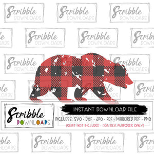 digital download SVG DXF cut file cricut design space cameo buffalo plaid boy girl easy adult mama papa bear animal christmas xmas graphic clipart scrapbook
