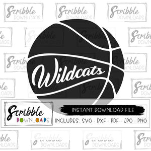 Basketball SVG Wildcat mascot Instant Download shoot hoop dxf Sports svg pdf digital high school basketball printable bball team SVG DXF PDF PNG JPG DIY craft shirt mom team sports cheer cute easy fast safe secure popular