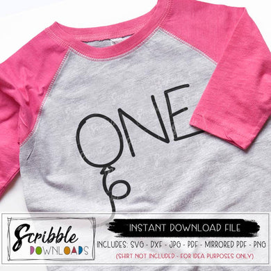 ONE 1st Birthday Balloon SVG vector graphic download Cricut Silhouette cut file SVG DXF popular cute hand drawn graphic 1 year old birthday shirt DIY iron on shirt transfer print at home cute boy girl toddler kids