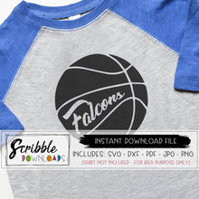 Falcons Basketball SVG Vinyl cut file silhouette cricut craft clipart printable iron on transfer shirt craft DIY easy fast safe secure free commercial use team sports bball ball girl boy teen adult falcon cheer mom mama school mascot SVG DXF PDF PNG JPG vector