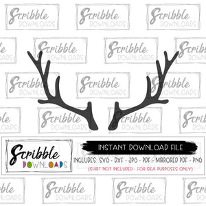 DEER ANTLERS AND HORNS CHRISTMAS REINDEER HUNTING CAMPING SVG