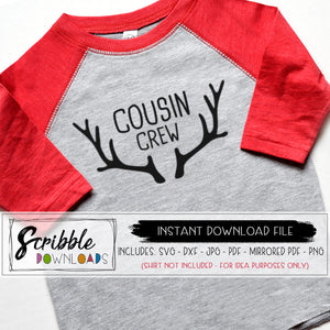 Cousin crew antlers svg dxf pdf iron on shirt christmas pajamas grandma nana matching cousin svg antlers silhouette cricut cut file vector graphic printable digital download iron on transfer shirt graphic sublimation christmas winter