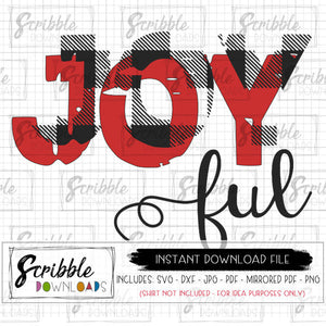 Joy Christmas SVG joyful buffalo plaid SVG DXF PDF iron on transfer silhouette cricut cut file vector graphic digital download printable