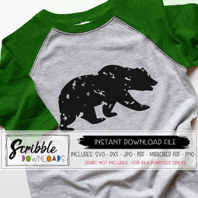 Bear Animal distressed grunge graphic svg dxf pdf cut file silhouette cricut christmas bear animal clipart graphic cute popular easy farmhouse matching sublimation family xmas graphic
