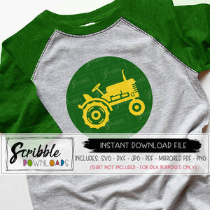Tractor that's green and yellow for a little boys shirt or party announcement SVG DXF graphic