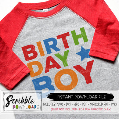 BIRTHDAY BOY IN COLORFUL HAPPY COLORS SVG DXF GRAPHIC