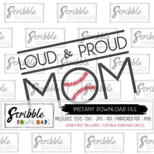 Loud and Proud baseball mom clipart graphic SVG DXF PDF PNG JPG graphic for iron on transfer or clipart cute easy heat transfer vinyl HTV cricut silhouette SVG popular sports mom