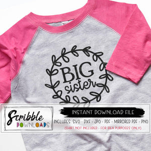 Big Sister Girly SVG DXF cut file and vector graphic cricut silhouette cut file digital download iron on transfer PDF big sis new baby sister sissy cute popular