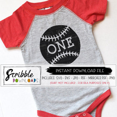 1 one baseball softball SVG DXF PDF Cricut Silhouette Cut file graphic craft heat transfer vinyl PDF iron on transfer clipart printable digital download instant email 1 one 1st first birthday bday baby kids cute popular