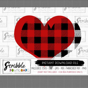 layered heart buffalo plaid SVG DXF cut file cricut silhouette vinyl heart love valentines clipart