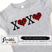 XO buffalo plaid SVG DXF PDF PNG JPG easy peel vinyl cut file cricut silhouette cuts a lot free commercial use buffalo plaid heart love boy girl kids mom DIY digital download print at home last minute shirt popular cute valentines day