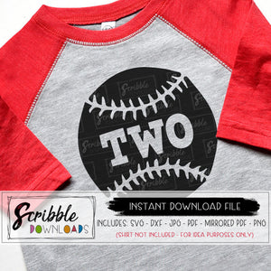 baseball 2 two second birthday baseball party SVG DXF PDF cut file silhouette cameo cricut design space easy SVG iron on transfer mirrored PDF digital cute party softball 2 two 2nd second shirt party