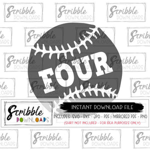 4 four 4th baseball sports fan boys svg dxf cut file cricut for vinyl