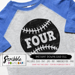 four inside baseball SVG 4th birthday sports theme shirt iron on