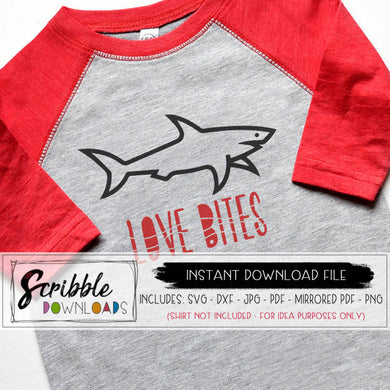 Boys Valentines SVG Love bites shark clipart SVG DXF PDF PNG JPG cricut silhouette vinyl cut file boy kids last minute valentine DIY shirt iron on transfer digital download print at home DIY cute funny popular SVG