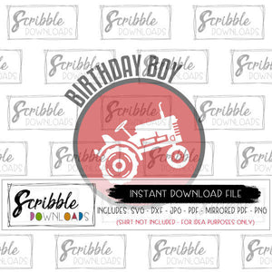 BDAY BOY WITH TRACTOR SHAPE CIRCLE GRAPHIC DESIGN VECTOR