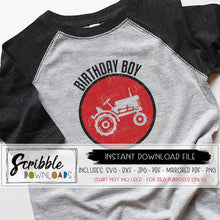 BIRTHDAY BOY TRACTOR THEME FARMER SVG DXF CUT FILE silhouette cricut vector graphic clipart iron on transfer printable DIY