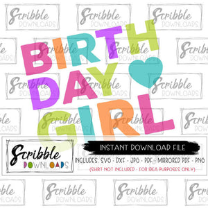 BDAY GIRL HAPPY AND BRIGHT COLORS SVG DXF VECTOR FILE CUT IRON ON