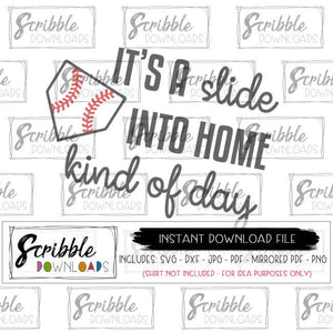 SOFTBALL BASEBALL HOME RUN SVG SLIDE INTO HOME CUT FILE VECTOR SVG DXF PDF cut file iron on transfer graphic DIY shirt easy to use free commercial use digital printable high quality graphic