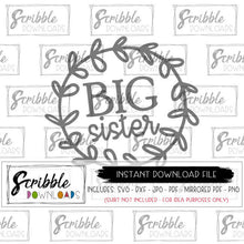 Big Sister Cricut cut file SVG wreath all ages girls new baby gift for big sis cut file vector graphic cricut silhouette HTV iron on transfer