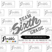 Team sixth grade SVG Vinyl cut file Silhouette Cricut Digital download vector clipart graduation school year start teacher student cricut silhouette printable iron on transfer DIY craft 6th grader 6 six sixth school back to school end of year student school teacher staff matching cute popular free commercial use swish sports raglan