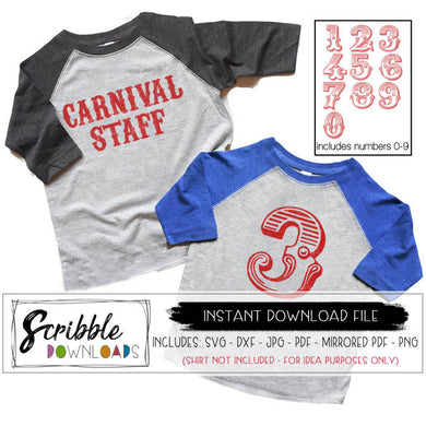 carnival circus numbers 0 1 2 3 4 5 6 7 8 9 carnival staff birthday svg cricut silhouette iron on transfer printable