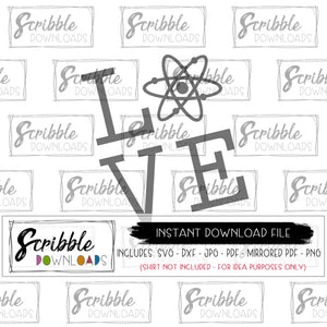 LOVE science themed SVG DXF cut file PDF iron on transfer shirt clipart print at home digital download Cricut and Silhouette compatible easy free commercial use science teacher school fun funny cute trendy popular