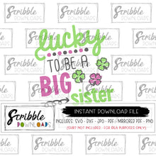 Big Sister SVG reveal pregnancy st patrick's day svg clover shamrock svg dxf pdf png jpg cut file silhouette cricut digital download free commercial use hand drawn cute popular girl sis green clover