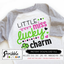 Little miss lucky charm svg cut file vinyl cricut silhouette svg dxf pdf png jpg cute popular trendy girly cute st patricks day iron on printable graphic clipart last minute shirt DIY craft projeft kids girl toddler baby shamrock clover green leprechauns scribble hand drawn cutie popular