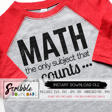 MATH TEACHER SVG Cut file for Cricut and Silhouette vinyl craft projects Math the only subject that counts SVG DXF PDF PNG JPG iron on transfer shirt printable at home digital download funny teacher gift humor cute