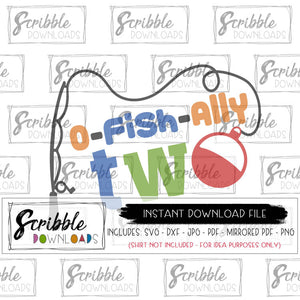 2 bday fishing theme party SVG DXF PDF PNG JPG digital download printable iron on transfer shirt Cricut Silhouette HTV cut file cute colorful fishing pole kids boy girl
