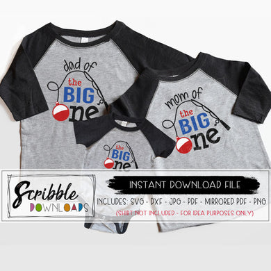 The big One svg birthday 1 year old 1st bday fishing fish theme party fish bobber fishing pole dad of the big one mom of the big one cricut silhouette iron on shirt vector graphic bundle 1 year old svg printable DIY shirt matching coordinating outfits for mom dad mama daddy and baby one year old. cute popular best seller shirts party help. DIY shirt make yourself last minute gift cute popular