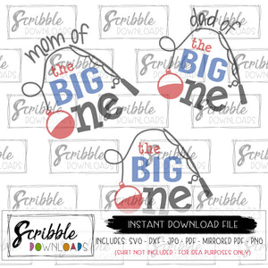 The Big One SVG baby birthday fishing SVG Digital Download bundle mom dad baby 1 year old boy girl fish fishing swim party bday iron on printable DIY craft sublimation free commercial use mommy daddy mama dada matching clipart easy fast secure last minute