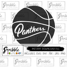 Panthers basketball team Vinyl cut file SVG DXF PDF PNG JPG Cricut Silhouette panther team sports ball bball hoop dunk mom mama coach cheer player logo mascot panthers free commercial use printable iron on transfer shirt DIY clipart vector
