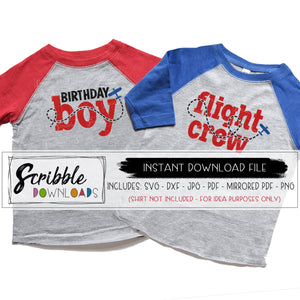 matching airplane shirts for birthday boy party. ages 12 3 4 5 6 7 8 9 10 11 year old. flight crew and birthday boy svg vinyl cut files for silhouette and cricut craft cutters. popular best selling design for coordinating DIY shirts. Printable iron on transfer clipart to make your own shirts last minute.  SVG DXF PDF PNG JPG Mirrored PDF clipart. bday boy boys kids teen toddler youth cute shirts for pictures at party. mom dad brother sister nana grandma discount bundle for bday.