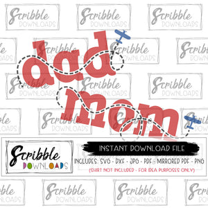 dad mom airplane SVG digital download file clipart matching birthday boy daddy mommy SVG DXF PDF PNG JPG vinyl cut file silhouette cricut bundle matching party plane airplane pilot sky contrail daddy mommy SVG DXF PDF