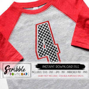 race car 4 svg four svg cars party 4th svg third bday 4 birthday checkered flag shirt iron on cricut silhouette cut file iron on transfer shirt DIY 4 kids dxf 4th bday cars theme graphic clipart popular cute