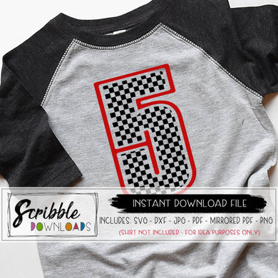 race car 5 svg five svg cars birthday bday party 5th svg fifth bday 5 birthday checkered flag shirt iron on cricut silhouette cut file iron on 5 kids dxf cute popular pinterest cars party shirt DIY last minute gift five years old free limited commercial use